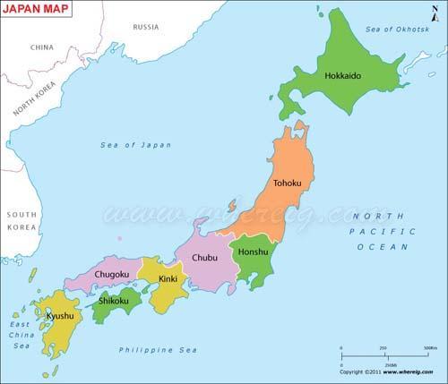 خريطة دولة اليابان