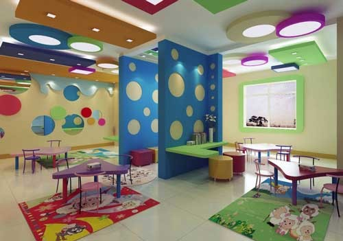 Modern Classroom Model ~ تصميم حضانة اطفال باسقف جبس ملونة و براقة ماجيك بوكس
