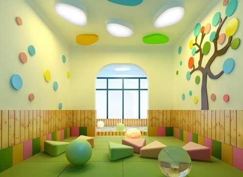 تصميم حضانة اطفال باسقف جبس ملونة و براقة ماجيك بوكس