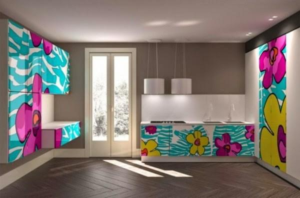 صور - تصميم دواليب مطابخ جديدة بالوان مشرقة و جذابة