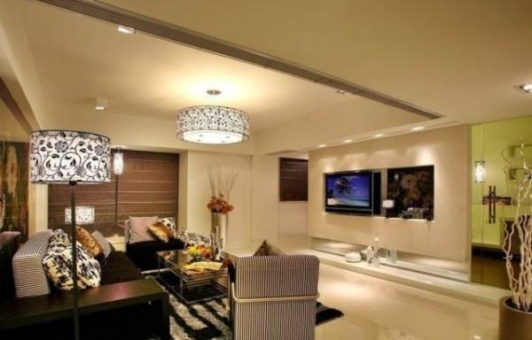 صور - اجمل تصاميم الجبس المضيئة لغرف المعيشة