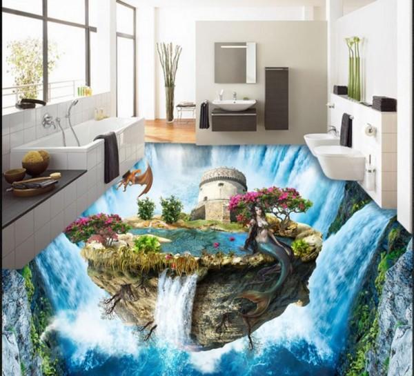 صور - اجمل تصاميم الارضيات ثلاثية الابعاد للحمامات المودرن