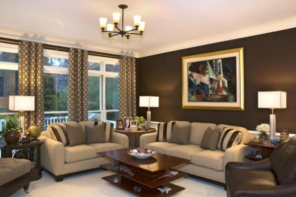 ستائر غرفة المعيشة البنية اللون