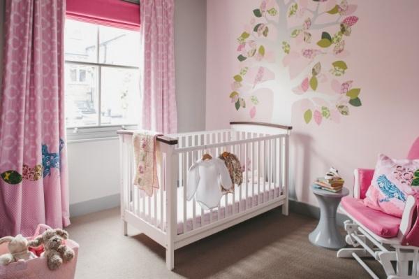 تصاميم غرف اطفال 2018 باللون الوردى المختلط مع الرمادى