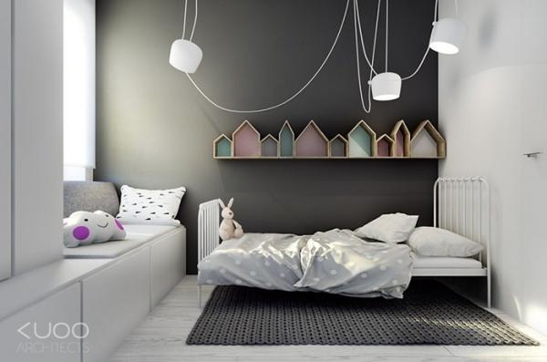 اختيار اللون الرمادى بدرجاته لتصاميم غرف اطفال 2018