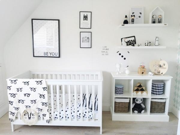 استخدام اللونين الابيض والاسود فى تصاميم غرف اطفال 2018
