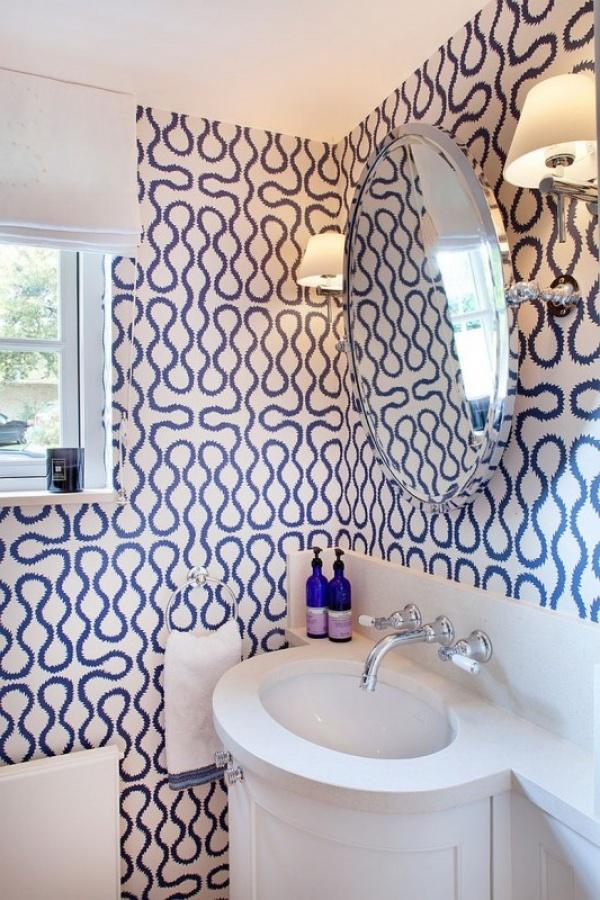 اشكال ورق الحائط 2018 باللون الازرق في الحمام