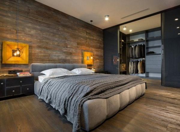 اختيار الخشب كعنصر طبيعى يوحى بالدفء فى صور غرف نوم 2018